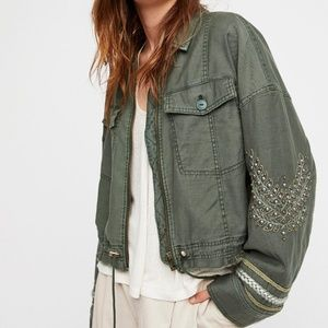 Free people extreme cropped military jacket Sz S